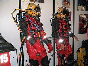 Professional diving - Surface supplied commercial diving equipment on display at a trade show