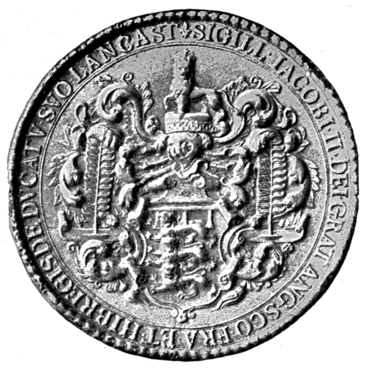 Fig. 676.—Seal of King James II. for the Duchy of Lancaster.