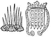 "Fig. 681.—Two badges of Henry VII., viz. the ""sun-burst"" and the crowned portcullis."