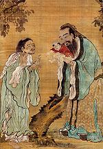 Confucius présentant Gautama le Bouddha à Laozi.
