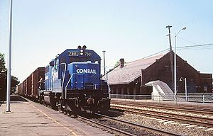 Attleboro station (Massachusetts) - A Conrail freight passes the then-closed station in 1983