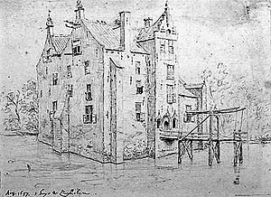 "Constantijn Huygens Jr. - A pencil drawing of Castle Zuilichem attributed to Huygens with inscriptions: ""'t huijs te Zuylichem"" and ""August 1657"". The castle was renovated by Constantijn Huygens Sr. in 1630."