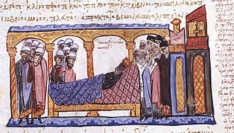 Constantine VII - The Madrid Skylitzes' depiction of Constantine on his deathbed