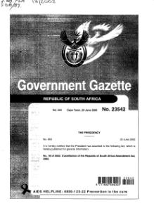 Constitution of the Republic of South Africa Amendment Act 2002 from Government Gazette.djvu