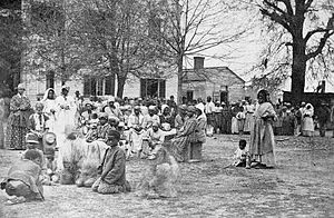 Contraband (American Civil War) - A contraband camp, formerly used as a female seminary, circa 1863