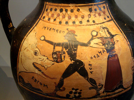 Corinthian vase depicting Perseus, Andromeda and Ketos; the names are written in the archaic Greek alphabet. Corinthian Vase depicting Perseus, Andromeda and Ketos.jpg