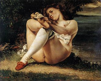 Barnes Foundation - Image: Courbet, Gustave Woman with White Stockings c. 1861