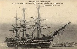 French ironclad Couronne - Portrait of Couronne as a gunnery training ship.