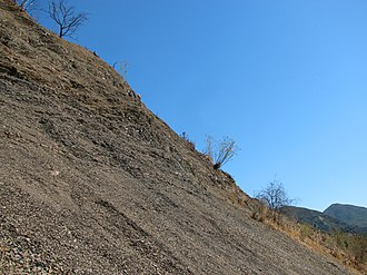 Cozy Dell Shale - Talus slope on an outcrop of Cozy Dell Shale, Santa Ynez Mountains, California.