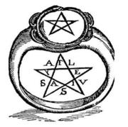 Drawing of a pentagram ring from Crotone, Italy, taken from IMAGINI DEGLI DEI ANTICHI (V. Catari, 1647)