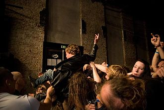 Crowd surfing - Crowd surfing at Hole In The Sky, Bergen Metal Fest.