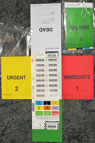 Triage tag - Cruciform Triage card (© 2015 CWC Services), fully unfolded front