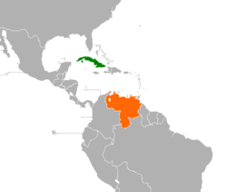 Map indicating locations of Cuba and Venezuela