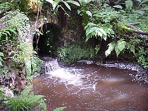 English: Culvert. A culvert where a stream run...