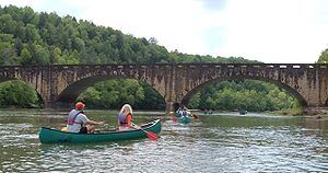 Cumberland River - Canoers on the Cumberland River upstream from Cumberland Falls