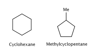 Images of cyclohexane and methylcyclopentane.