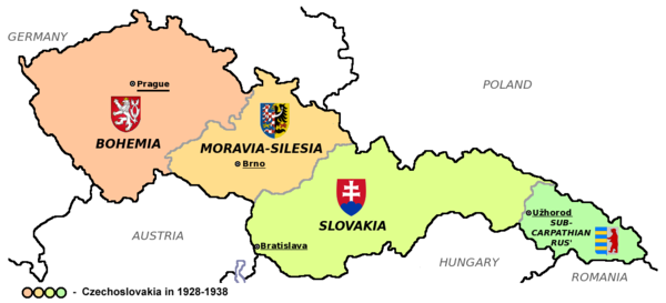 The First Czechoslovak Republic comprised only 27% of the population of the former Austria-Hungary, but nearly 80% of the industry. Czechoslovakia I.png