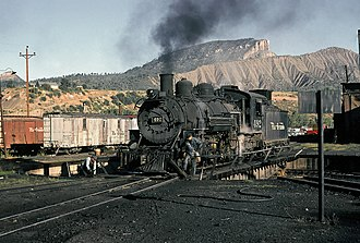 Durango, Colorado - DRGW steam locomotive on the Durango turntable, 1965.