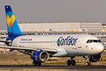 D-AICH Condor Airbus A320-212 departing on Rwy18 to Rhodos (RHO - LGRP) @ Frankfurt (FRA - EDDF).jpg