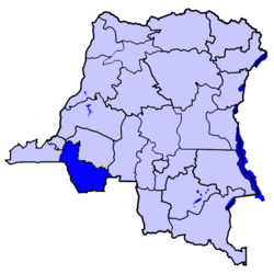 Location of Kwango province in the Democratic Republic of the Congo