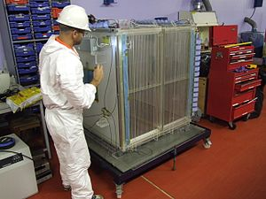 Directional Recoil Identification from Tracks - The DRIFT-IId Detector removed from the vacuum vessel for maintenance.