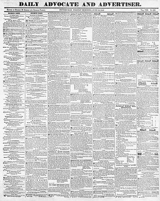 Advocate (Pittsburgh) - Front page of daily edition, 19 June 1840