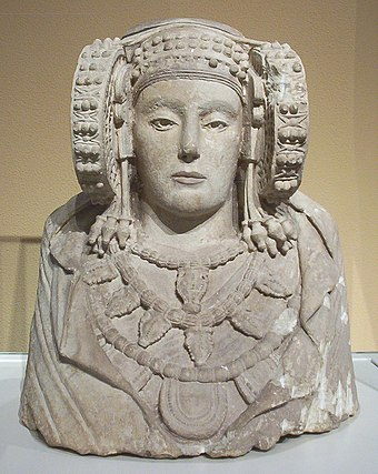 Lady of Elche, a piece of Iberian sculpture from the 4th century BC Dama de Elche (M.A.N. Madrid) 01.jpg