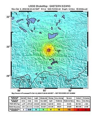 2008 Damxung earthquake - Image: Damxung earthquake shakemap