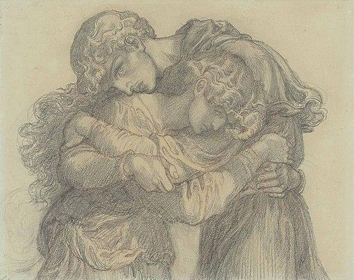 Dante Gabriel Rossetti - The Blessed Damozel (study for lovers)