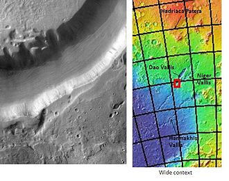 Hellas quadrangle - Dao Vallis, as seen by THEMIS.  Click on image to see relationship of Dao Vallis to other nearby features