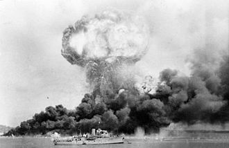 The Bombing of Darwin, 19 February 1942. Japanese air raids on Australia during 1942-43 killed hundreds of servicemen and civilians, while Axis naval activity in Australian waters threatened shipping between 1940 and 1945. Darwin 42.jpg