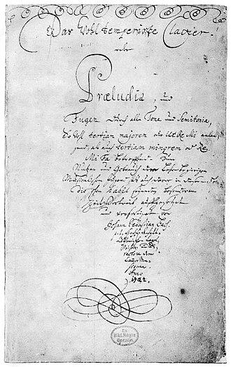 平均律クラヴィーア曲集の自筆譜の表紙