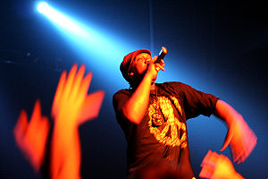 KRS-One in concert. KRS-One is a long-time activist, performer and promoter of hip hop culture.