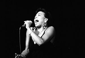 1990 in jazz - Jazz singer Dee Dee Bridgewater in 1990 at Deauville, Normandy, France