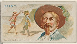 Laurens de Graaf - Image: De Graaf, Duel with Van Horn, from the Pirates of the Spanish Main series (N19) for Allen & Ginter Cigarettes MET DP835016