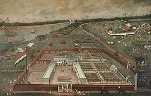 Dutch Bengal - Dutch East India Company factory in Hugli-Chuchura, Bengal. Hendrik van Schuylenburgh, 1665