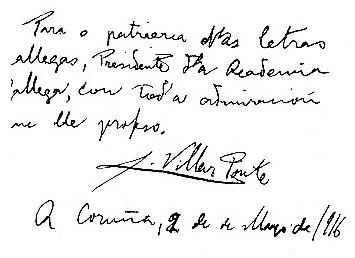 Dedicatoria autógrafa de Villar Ponte a Murguía, do libro Nuestra afirmación regional