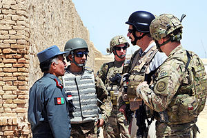 War in Afghanistan order of battle, 2012 - ISAF soldiers with Afghan policemen in April 2012.