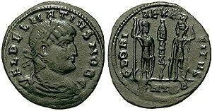 Dalmatius - Coin of Dalmatius (nummus) - inscribed FLavius DELMATIUS NOBilissimus Caesar