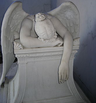 Metairie Cemetery - Marble statuary monument to Chapman H. Hyams' sisters. The sculpture is a copy of Story's Angel of Grief