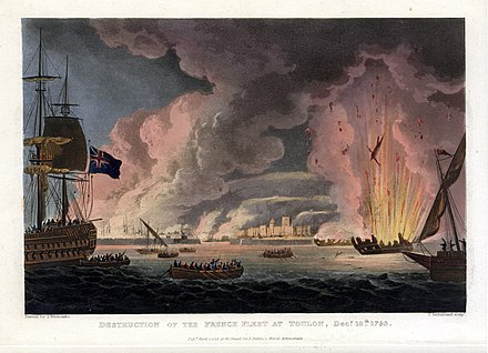 Destruction of the French fleet at Toulon Destruction of the French Fleet at Toulon 18th December 1793.jpg