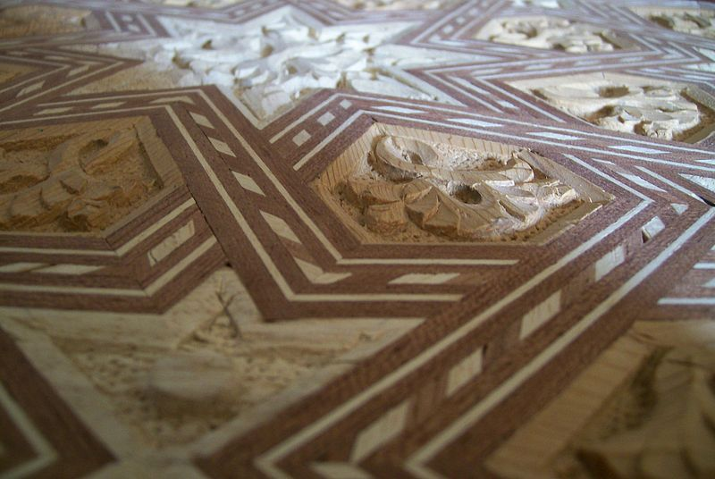 File:Detail of wood inlays and wood carving.jpg