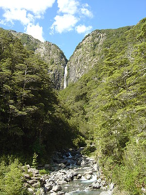 Devils Punchbowl Waterfall at Arthurs Pass in ...
