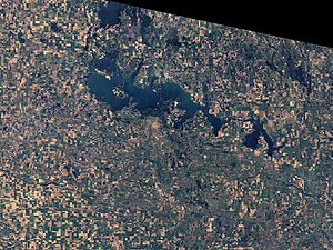 Devils Lake (North Dakota) - View from space (March 2009)