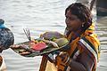 Devotee with Offering - Chhath Puja Ceremony - Ramkrishnapur Ghat - Howrah 2013-11-09 4141.JPG