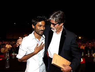 Dhanush - Dhanush with Amitabh Bachchan at the BIG Star Entertainment Awards (2012)