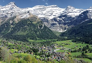 Les Diablerets - Les Diablerets with the massif of the Diablerets