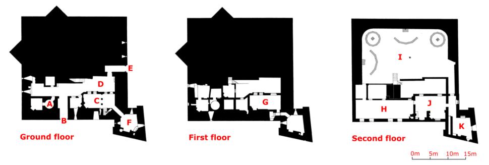 Diagram of the castle: A – magazine; B – modern entrance; C – parlour and hall; D – courtyard; E – original entrance; F – kitchen; G – Master Gunner's House; H – Long Room; I – platform; J – attic; K – bastion attic