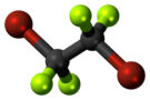 Ball-and-stick model of the dibromotetrafluoroethane molecule