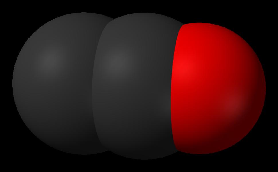 Spacefill model of dicarbon monoxide